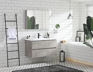 实木浴室柜-802水泥灰